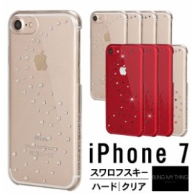 iPhone7 ケース スワロフスキー クリア カバー キラキラ ラインストーン シンプル デザイン 薄型 スリム 透明 ハード カバー 大人 女子