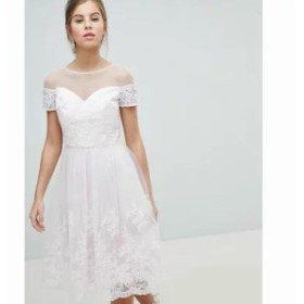 チチロンドン ワンピース Chi Chi London 2 in 1 Premium Lace Midi Prom Dress Soft pink