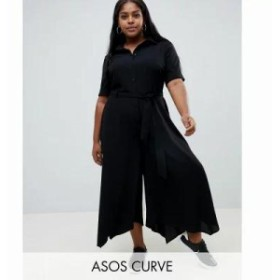 エイソス オールインワン ASOS DESIGN Curve shirt jumpsuit with hanky hem and belt detail Black