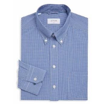 イートン Men Clothing Slim-Fit Plaid Cotton Dress Shirt