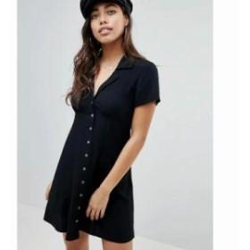 エイソス ワンピース DESIGN Button Through Mini Skater Dress Black
