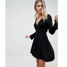 エイソス ワンピース casual skater mini dress with bow back Black