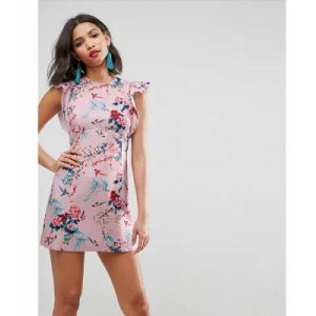 エイソス ワンピース ASOS Bonded Scuba Skater Mini Dress With Frill Detail In Floral Print Floral print