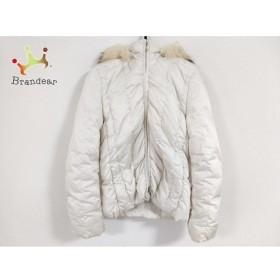 イネド INED ダウンジャケット サイズ7 S レディース 美品 白 ファー/冬物 新着 20190517