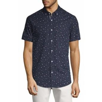 レポートコレクション Men Clothing Boat and Anchor-Print Cotton Button-Down Shirt