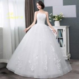 激安 ウェディングドレス ベアトップ 結婚式 ノースリーブ 編み上げ ホワイトドレス 大きいサイズ 花嫁 ロング丈 ブライダルドレス