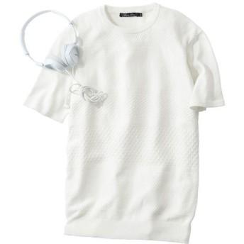【メンズ】 綿100%総柄ニットの半袖Tシャツ。ご家庭で洗えるのが◎ - セシール ■カラー:ホワイト ■サイズ:M,L,5L,3L,LL