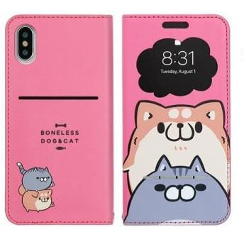 iPhone/XS/X対応 窓付きダイアリーケース ボンレス犬とボンレス猫