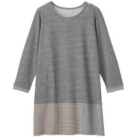 29%OFF【レディース】 裾布帛切り替えチュニック - セシール ■カラー:チャコールグレー ■サイズ:S