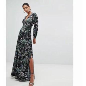 ミスガイデッド ワンピース plunge tie waist maxi dress with side split in dark floral Multi
