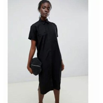 エイソス ワンピース casual midi shirt dress Black