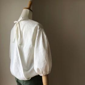 バックシャン♪リネン バックカシュクールブラウス七分袖 ホワイト(お袖、後ろの仕様選べます)