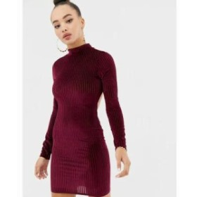 ミスガイデッド ワンピース ribbed velvet open back mini dress in burgundy Burgundy