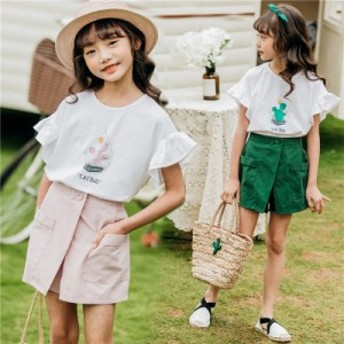 子供服 セットアップ 女の子 夏 半袖 韓国子供服 キッズ 可愛い Tシャツ ショートパンツ 上下2点セット 半袖Tシャツ ショートパンツzgqz