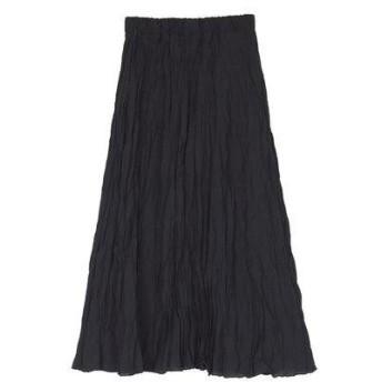ユアーズ ur's ワッシャープリーツスカート (ブラック)