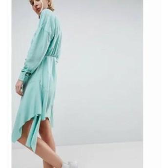 エイソス ワンピース ASOS WHITE Tuck Detail Mini Dress Mint