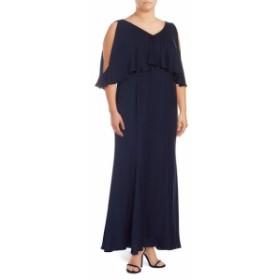 マリーナ レディース ワンピース Plus Ruffle-Trimmed V-Neck Gown