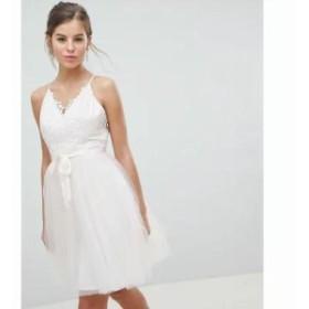 チチロンドン ワンピース 3D Lace Detail Midi Prom Dress With Tie Detail Nude