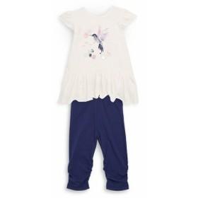 プチレム キッズ ガールズ トップス Baby Girls Two-Piece Graphic Top and Leggings Set