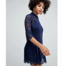 ミスガイデッド ワンピース lace frill detail shift dress in navy Blue