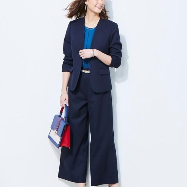快適機能付き洗える2WAYストレッチワイドパンツスーツ【レディーススーツ】 (大きいサイズレディース)スーツ, Women's Suits, 套装, 套裝  , plus size