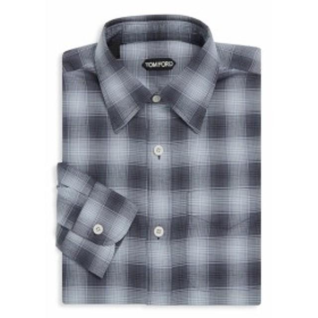 トムフォード Men Clothing Plaid Cotton Dress Shirt