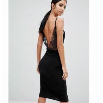 ミスガイデッド ワンピース lace open back midi dress in black Black