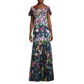 タダシショウジ レディース ワンピース Floral Flutter-Sleeve Mermaid Gown