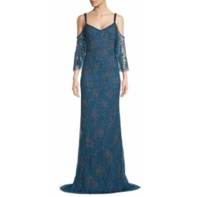 テイア レディース ワンピース Cold Shoulder Flounce Floor-Length Gown
