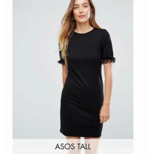 エイソス ワンピース ASOS TALL T-Shirt Dress In Ponte With Lace Frill Sleeve Black