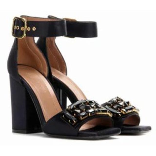 マルニ サンダル・ミュール Crystal-embellished satin sandals Blublack/Black