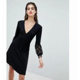 エイソス ワンピース wrap dress with lace sleeves Black