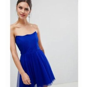 エイソス ワンピース ASOS DESIGN dobby bandeau skater mini dress Electric blue