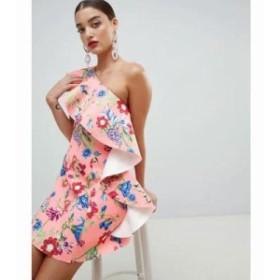 エイソス ワンピース ASOS DESIGN floral one shoulder ruffle a-line mini dress Pink