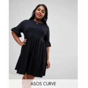 エイソス ワンピース ASOS DESIGN Curve sweat smock dress with frill sleeve Black