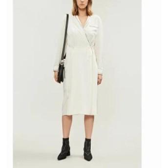 ラグ&ボーン ワンピース anita contrast-stitch silk wrapover dress Chalk