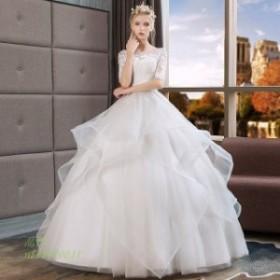 ウェディングドレス 5分丈袖 透かし彫り フレア フリル 花嫁 披露宴 ブライダルドレス キレイめ 結婚式ドレス ホワイトドレス