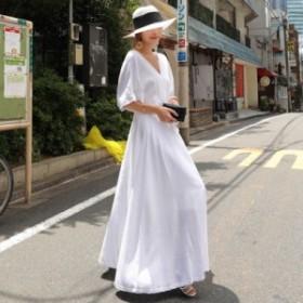 レディース ワンピース マキシ 半袖 ホワイト イエロー お姫様 プリンセス ふんわり フレア dfkj0233