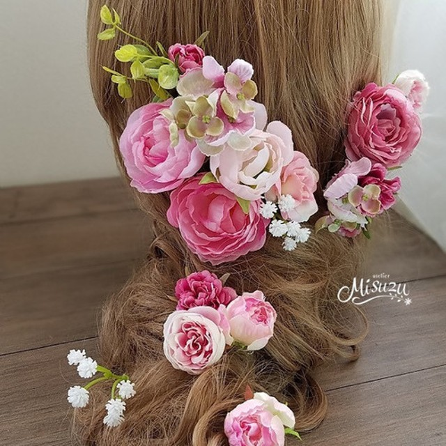 「Creema限定」人気ピンクグラデのヘッドドレス ヘアパーツ 髪飾り ナチュラル ローズ ブライダル