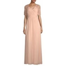 アドリアーナ パペル レディース ワンピース Sequins and Lace Sleeve Floor-Length Gown