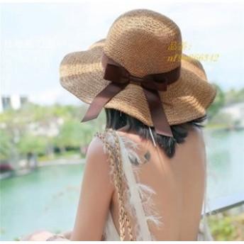 ストローハット レディース 麦わら帽子 日よけ つば広 折りたたみ UVカット 帽子