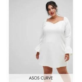 エイソス ワンピース ASOS DESIGN Curve sweetheart mini dress with fluted sleeve Cream