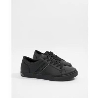 ヴェルサーチ スニーカー leather trainers with logo in black Black