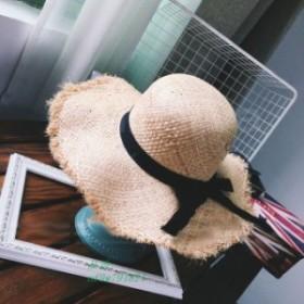 麦わら帽子 リボン レディース UVカット 切りっぱなし大きいサイズ ストローハット 紫外線カット 2019新作 蝶結びリボ ブリーズフレンチ