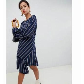 ヴィラ ワンピース pinstripe asymmetric hem dress Navy stripe