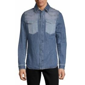 ヴァレンティノ Men Clothing Long-Sleeve Denim Button-Down Shirt