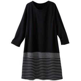 【レディース大きいサイズ】 裾切り替えカットソーチュニック - セシール ■カラー:ブラック系 ■サイズ:L,LL,4L,3L,5L,6L