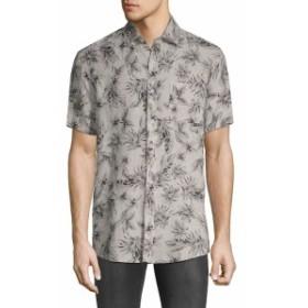 サックスフィフスアベニュー Men Clothing Printed Short-Sleeve Linen Button-Down Shirt