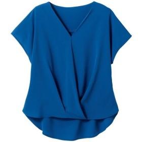 【レディース】 Vネックタックブラウス - セシール ■カラー:ブルー ■サイズ:S,M