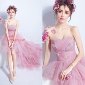 ピンク ドレス パーティー 編み上げ ウェディングドレス ベアトップ 花嫁 結婚式ドレス パーティードレス チュール 前短後長 お洒落